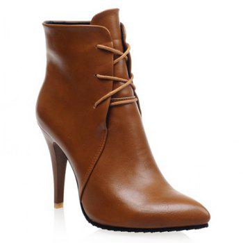 Stylish Solid Colour and Pointed Toe Design High Heel Boots For Women