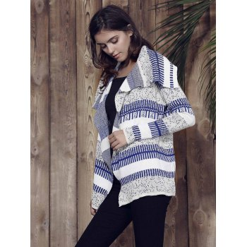Stylish Long Sleeve Loose-Fitting Knitted Irregular Women's Cardigan - GREY/WHITE/BLUE GREY/WHITE/BLUE