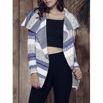 Stylish Long Sleeve Loose-Fitting Knitted Irregular Women's Cardigan - GREY AND WHITE AND BLUE GREY/WHITE/BLUE