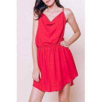Stylish Women's Spaghetti Strap Red Open Back Summer Dress