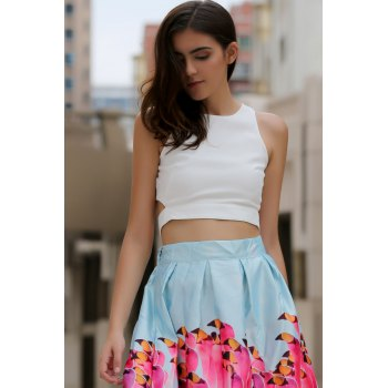 Women's Round Neck Cut Out Bowknot Decorated Crop Top - L L