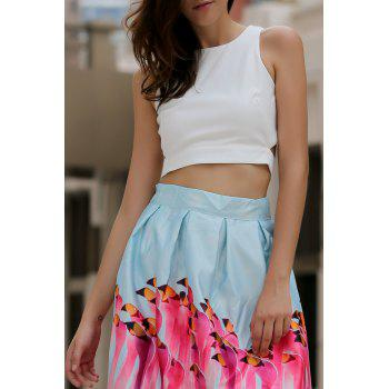 Women's Round Neck Cut Out Bowknot Decorated Crop Top