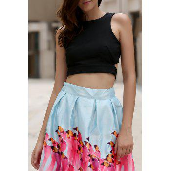 Women's Round Neck Cut Out Bowknot Decorated Crop Top - BLACK S