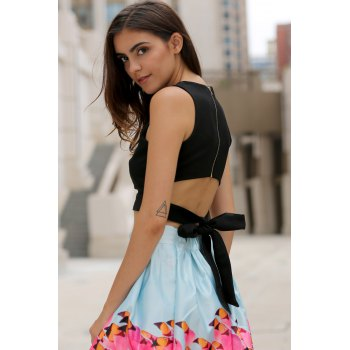 Women's Round Neck Cut Out Bowknot Decorated Crop Top - BLACK BLACK