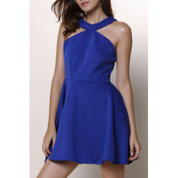 Women's Halter Candy Color Cut Out A-Line Dress