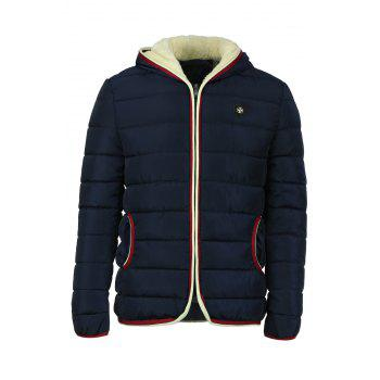 Selvedge Embellished Flocking Hooded Long Sleeve Thicken Men's Cotton-Padded Jacket