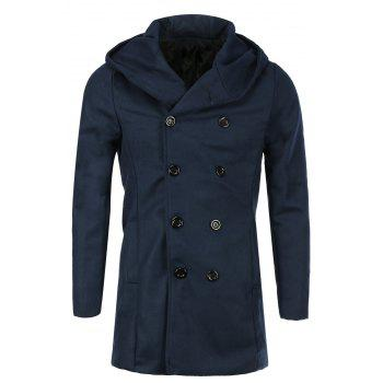 Laconic Hooded Multi-Button Back Slit Solid Color Long Sleeves Loose Fit Men's Thicken Peacoat