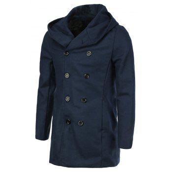 Laconic Hooded Multi-Button Back Slit Solid Color Long Sleeves Loose Fit Men's Thicken Peacoat - CADETBLUE CADETBLUE