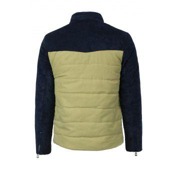 Color Block Patch Pocket Zipper Cuffs Slimming Stand Collar Long Sleeves Men's Flocky Coat - KHAKI XL