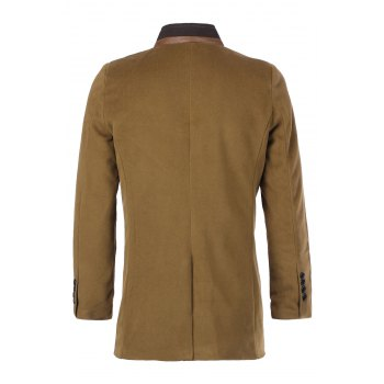 Slimming Stand Collar PU Leather Spliced Color Block Long Sleeves Men's Woolen Blend Coat - CAMEL XL