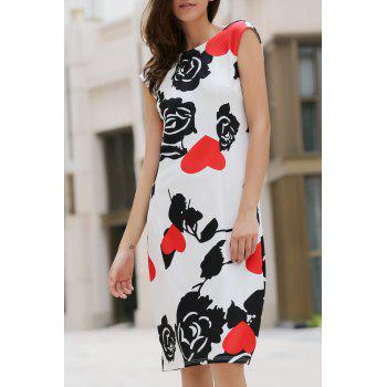 Elegant Jewel Neck Sleeveless Flower and Heart Pattern Sheathy Women's Prom Dress