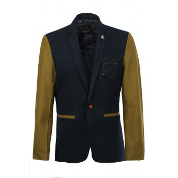 Elegant Printed Pocket Metal Embellished Color Spliced Lapel Long Sleeves Men's Slim Fit Blazer