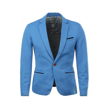 Elegant Covered Edge Patch Pocket Single-Breasted Lapel Long Sleeves Men's Slim Fit Blazer