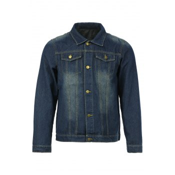 Slimming Shirt Collar Stylish Double Pockets Buttons Design Long Sleeve Men's Denim Jacket