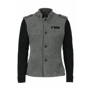 Woolen Yarn Full Sleeves Spliced Zipper and Epaulet Design Stand Collar Men's Slimming Jacket