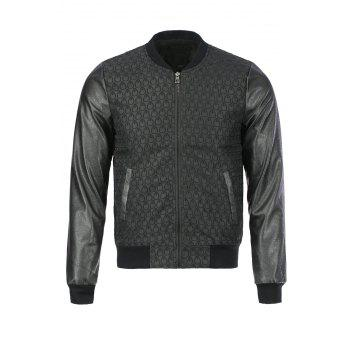 Fashion Waterdrop Design PU Leather Splicing Stand Collar Long Sleeve Slimming Men's Polyester Jacket - BLACK M