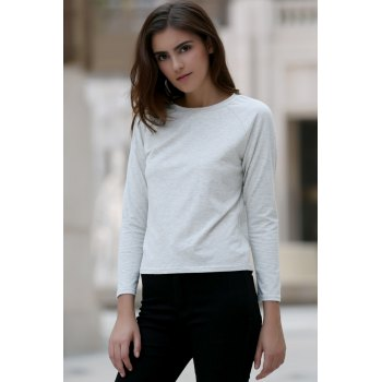 Casual Back Slit Round Neck Long Sleeve Women's T-Shirt - WHITE S