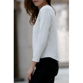 Casual Back Slit Round Neck Long Sleeve Women's T-Shirt
