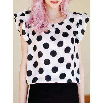Flounce Cuffs Polka Dot Scoop Neck Blouse For Women