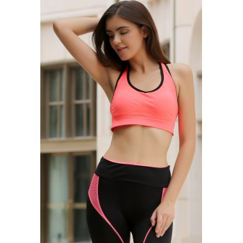 Sporty Style U Neck Racerback Push Up Hollow Out Women's Sports Bra - ORANGEPINK L