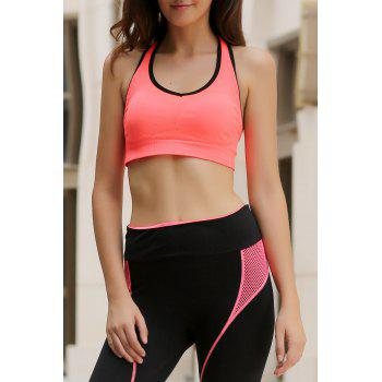 Sporty Style U Neck Racerback Push Up Hollow Out Women's Sports Bra - ORANGEPINK ORANGEPINK