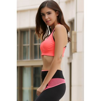 Sporty Style U Neck Racerback Push Up Hollow Out Women's Sports Bra - ORANGEPINK M