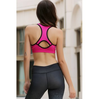 Sporty Style U Neck Racerback Push Up Hollow Out Women's Sports Bra - ROSE L