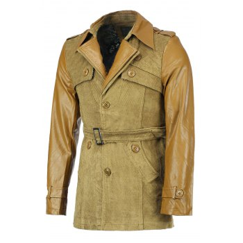 Belt Design Turn-Down Collar Solid Color PU-Leather Splicing Long Sleeve Men's Coat - KHAKI KHAKI