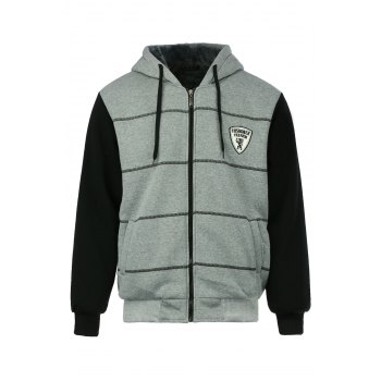 Slimming Drawstring Hooded Stripes Pattern Badge Design Color Block Long Sleeves Men's Flocky Hoodie
