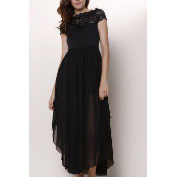 Bohemian Short Sleeve Square Neck Pure Color Lace Spliced Women's Dress