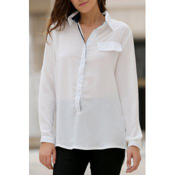 Stylish Women's Shirt Collar Long Sleeves Loose-Fitting High Low Blouse