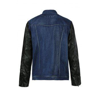 PU-Leather Splicing Stand Collar Long Sleeve Men's Denim Jacket - BLUE 5XL