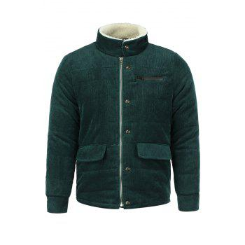 Buy Fur Collar PU Leather Spliced Flap Pocket Long Sleeves Fitted Men's Thicken Corduroy Padded Coat ARMY GREEN