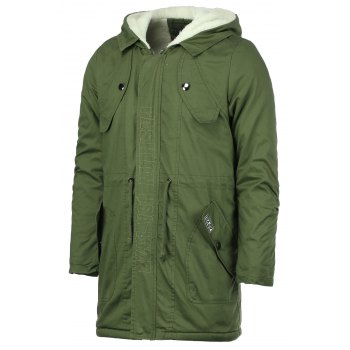 Drawstring Waist Multi-Pocket Men's Hooded Long Sleeves Thicken Coat - ARMY GREEN ARMY GREEN