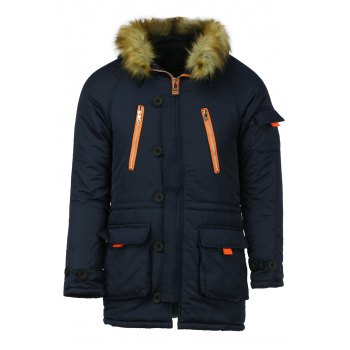Color Block Multi-Zipper Stereo Patch Pocket Detachable Hooded Long Sleeves Men's Fitted Coat - BLUE 2XL