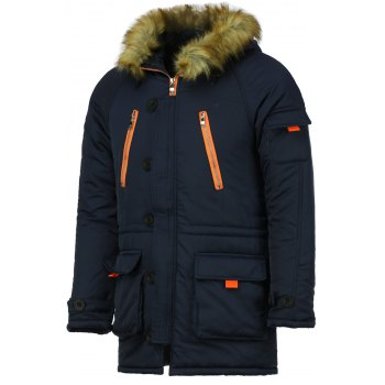 Color Block Multi-Zipper Stereo Patch Pocket Detachable Hooded Long Sleeves Men's Fitted Coat - BLUE BLUE