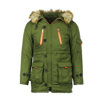 Color Block Multi-Zipper Stereo Patch Pocket Detachable Hooded Long Sleeves Men's Fitted Coat