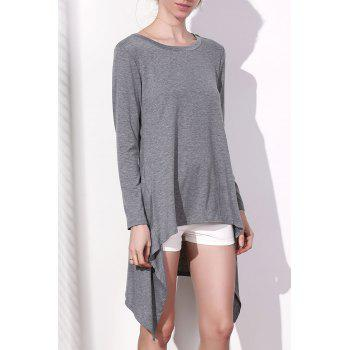 Stylish Long Sleeve Skew Neck Asymmetrical Women's Gray Dress