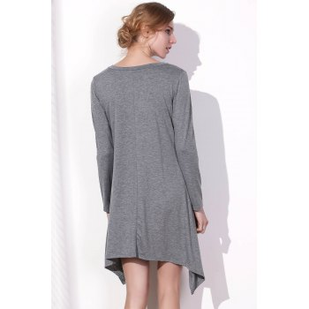 Stylish Long Sleeve Skew Neck Asymmetrical Women's Gray Dress - GRAY L
