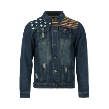 Holes and Cat's Whisker Turn-Down Collar Flag Pattern Long Sleeve Men's Denim Jacket