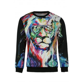 3D Lion Oil Painting Print Round Neck Long Sleeve Slimming Men's Sweatshirt