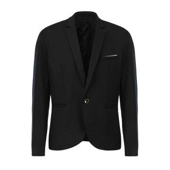 Slimming Lapel Stylish One Button Pocket Design Long Sleeve Cotton Blend Men's Blazer