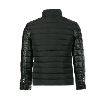 Simple Style Stand Collar Color Splicing Slimming Zipper Embellished Long Sleeves Men's Down Coat - BLACK M