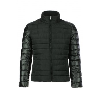 Simple Style Stand Collar Color Splicing Slimming Zipper Embellished Long Sleeves Men's Down Coat - BLACK BLACK