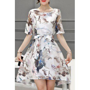 Elegant Women's Scoop Neck 1/2 Sleeve Floral Print Belted Organza Dress