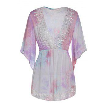 Bohemian Plunging Neck 3/4 Sleeve Laciness Printed Women's Dress