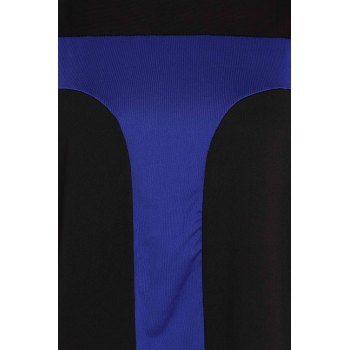 Sexy Scoop Neck Long Sleeve Bodycon Color Block Women's Dress - BLUE 4XL