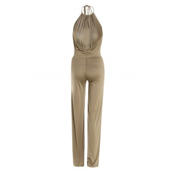 Sexy Round Collar Sleeveless Solid Color Backless Women's Jumpsuit - KHAKI M