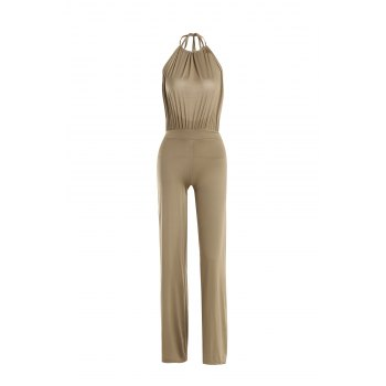 Sexy Round Collar Sleeveless Solid Color Backless Women's Jumpsuit