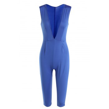 Stylish Sleeveless Plunging Neck Solid Color Women's Jumpsuit